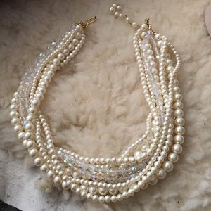 Jewelry - Necklace, multi pearl with crystal style beads